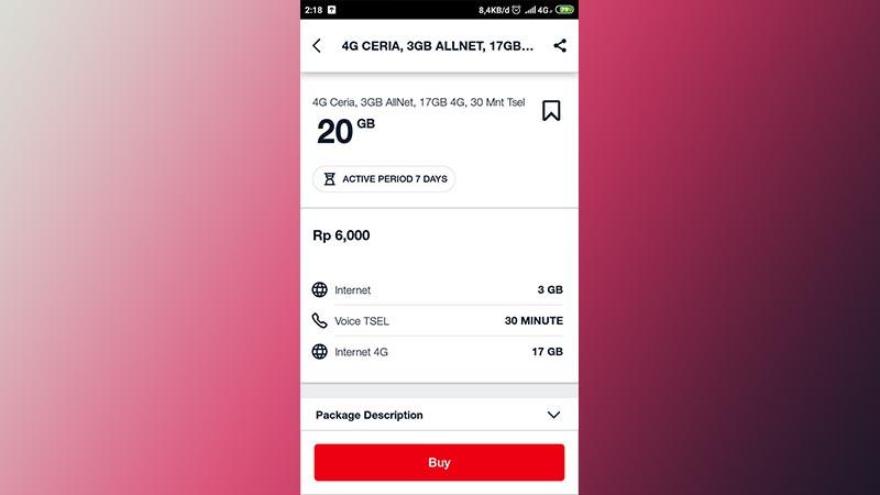 Paket 4G Ceria 20GB Telkomsel